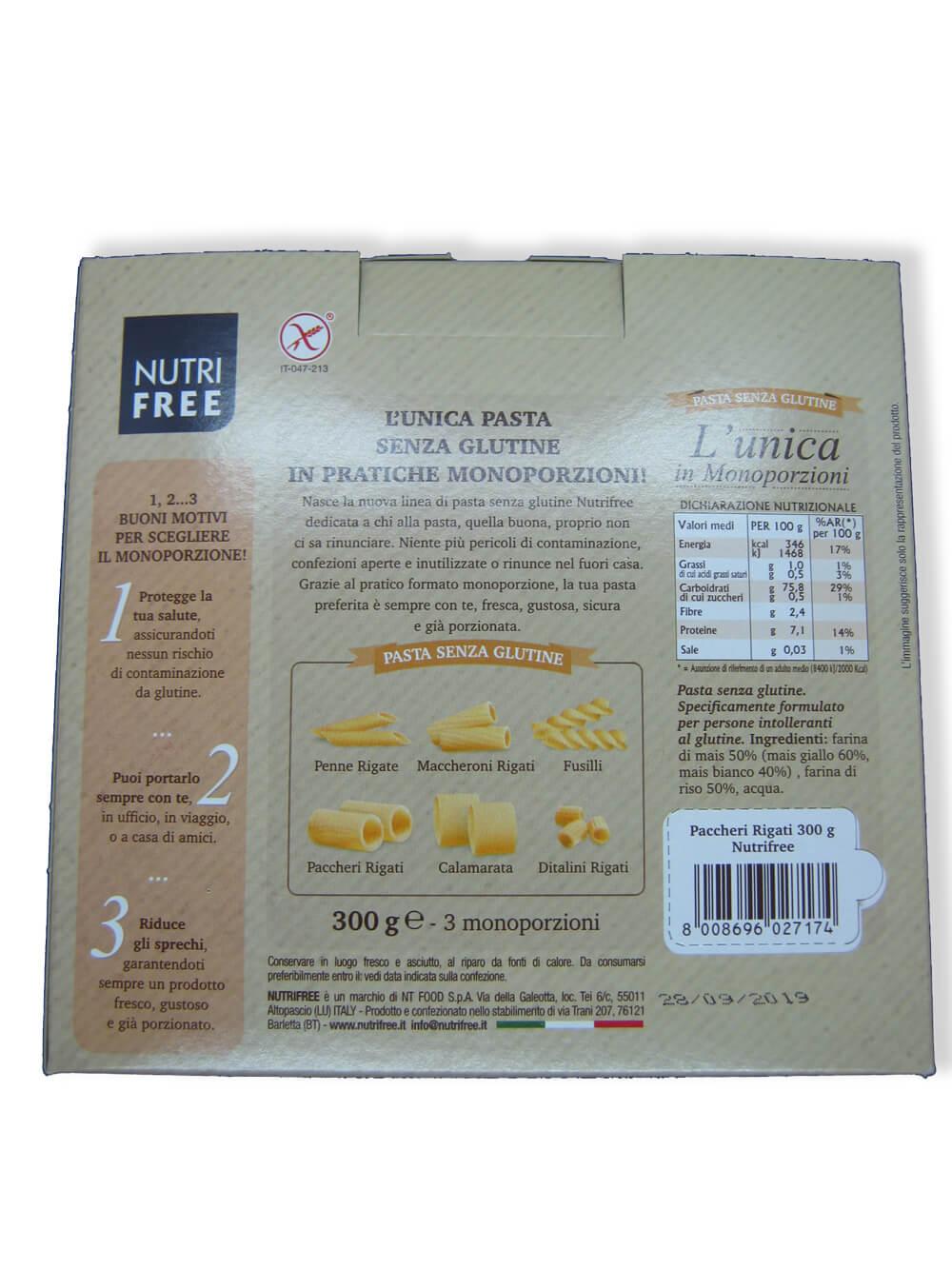 immagine paccheri Nutrifree retro